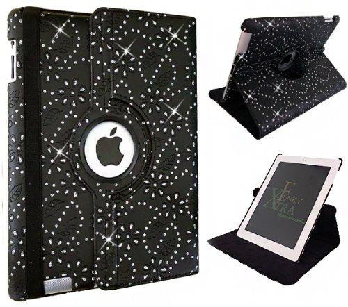 Xtra-Funky exklusive Hülle / Aufsteller aus PU-Leder für Apple iPad, um 360° schwenkbar, Schlafmodus mit automatischer An- / Aus-Funktion Crystal Black iPad 2-3-4 (Schwenkbarer Ipad-halter)