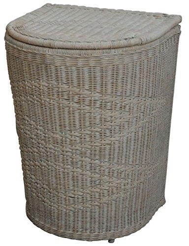 Home Flechtmuster (Hoher Wäschekorb in moderner, bauchiger Optik aus echtem Rattan / Wäschebox mit schönem Flechtmuster in Vintage Weiss)
