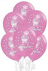 Idea Regalo - Palloncini Battesimo Rosa addobbi e decorazioni per feste confezione 25pz