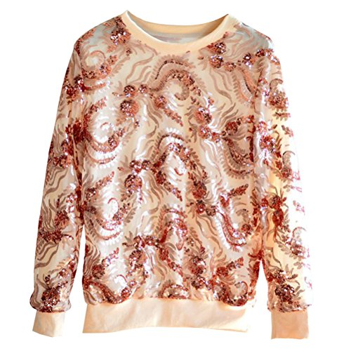 Zhhlaixing Costumi in Sequined Moda Heavy Crafts Sequins Embroidered Sweater Round Neck Loose Long Sleeved Shirt Womens Tops Pink
