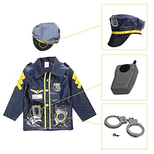 Per Kids Beruf Kostüm Set Rollenspiel vorgeben Dress Up Kit mit Zubehör für 3-6 Jahre alt Kleinkinder-Polizei