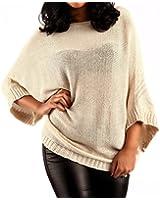 Damen Pullover Strickpullover Oversized Look Fledermausärmel