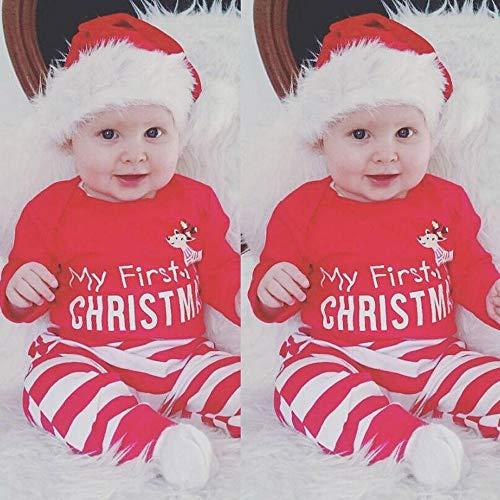 Kleider Kinderbekleidung Honestyi Weihnachten Neugeborenes Baby Mädchen Jungen Outfits Kleidung 2 Stücke Deer Romper + Hosen Set (Rot,70,80,90,100)