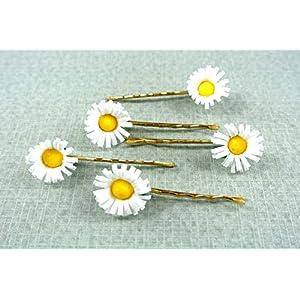 clarigo, Haarnadeln, Haarklammern, Haarklemmen, Gänseblümchen, Hochzeit, Kommunion, Blumen, Blume