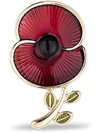 The Royal British Legion The Poppy Collection Enamel and Leaf Brooch Large