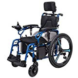 J.GH ACEDA Heavy Duty Electric Wheelchair With Headrest, Foldable And Lightweight Powered Wheelchair,360° Joystick W/USB Charging Port,Seat Width 46Cm,Weight Capacity 150Kg