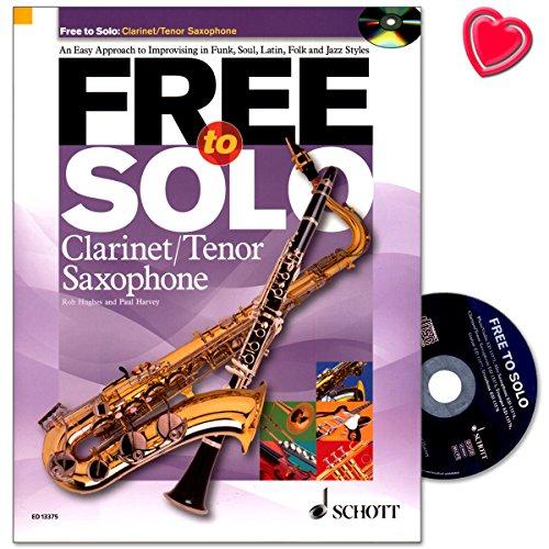 Free to Solo - Noten für Klarinette, Tenor-Saxophon - Notenbuch mit CD und bunter herzförmiger Notenklammer