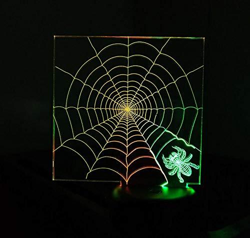 Nachtlicht 3D Nachtlicht Bunte Touch Spider Web Visuelle Kreative Led Stereo Lampe Dekoration Geschenk Licht - Auto Stereo-spider