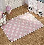 Flair Rugs Teppich, gepunktet, Pink/Weiß, Mädchen, Kinderzimmer-Teppich, waschbar, 70 x 100 cm