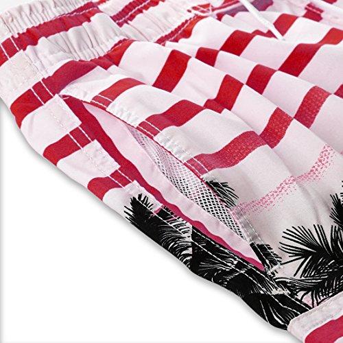 APTRO Uomo Colorate Strisce Coco Spiaggia Stampati Pantaloncini Rosso