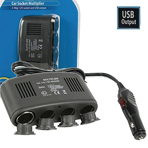 Eurosell 12 VDC / 5 VDC Auto KFZ 4fach Verteiler Steckdüse + USB Ladegerät Port Zigarettenanzünder Weiche 4-Fach 4er 12V