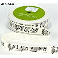 Music Notes Vintage Print 100% cotton 20mm May Arts Ribbon on a 3m Length (N.B. this is a cut from a roll) by May Arts Ribbon