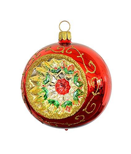 Thüringer weihnacht 52-078 - sfera per albero di natale, 8 cm, rosso, reflex multicolore, 2 pz