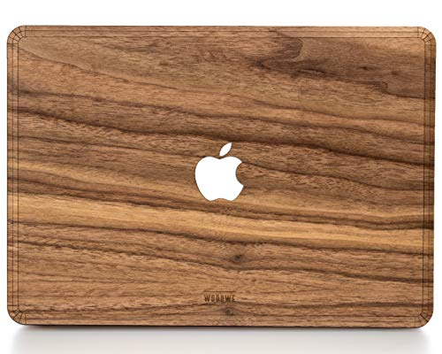 WOODWE® Real Wood MacBook Hard Case for Protection | for Mac Pro 15 inch Retina Display/White Apple Logo | Mid 2012 - Mid 2015 | Natural Walnut Wood - White Case Macbook Apple