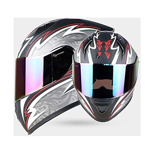 WWJIE (Asiatisches Schwarz mit Farbbrille) Integrierter Motorradhelm ECE | Flip Up Motorradhelm, Offroad-Rennen, Motocross, für Honda/Yamaha/Suzuki/Kawasaki, Bandit Helm.-L