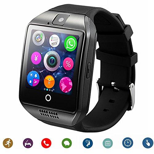 B-02 Bluetooth Smart Watch mit Kamera-Musik-Player Unterstützt SIM / TF-Karte gebogen Ultra HD Touchscreen für Android-Handys und iPhone (Teilfunktion) schwarz (Smart Watch Kinder)