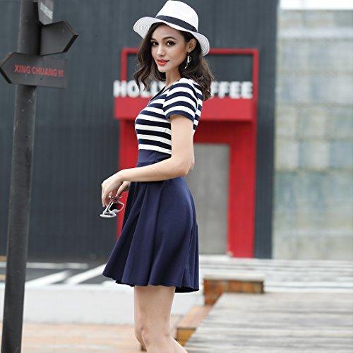 MIUSOL Sommer Vintage Streifen Rundhals Retro Schwingen Pinup Rockabilly 1950er Kleid Navy Blau - 5