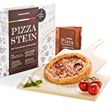Pizzastein Set Deluxe - Brotbackstein aus Cordierit inkl. Pizzaschaufel und Rezeptbuch