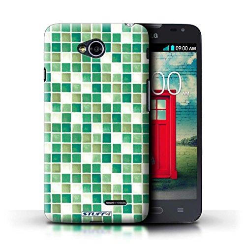 Kobalt® Imprimé Etui / Coque pour LG L70/D320 / Violet/Vert conception / Série Carreau Bain Vert/Blanc