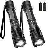 Maibahe【2 Pack】Lampe torche led ultra puissante 800 lumens CREE-T6 Lampe torche militaire utilisable pour vélo ou randonnées 5 modes zooms et portée de 300m Conception antichoc