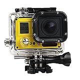 VIGICA ACT74S Sports Action 4K Cam 20MP Wasserdichte Kamera WiFi HD 170° Weitwinkel Helmkamera für Motorrad, Fahrrad, helm, kinder, drohne, fahrrad, hunde mit Fernbedienung Zubehör Kits Gelb