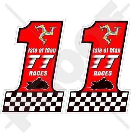 ISLE von MAN TT Rennen MANX Moto GP Rennen 75mm Auto & Motorrad Aufkleber, x2 Vinyl Bike-Helm Aufkleber, Abziehbild -