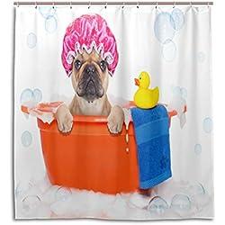 Cortinas de ducha impermeable moho a prueba de molde resistente al diseño de CARLINO Teniendo un baño impreso lavable cortina de baño de poliéster con resistente ganchos para baño decoración del hogar accesorios 66x 72inch