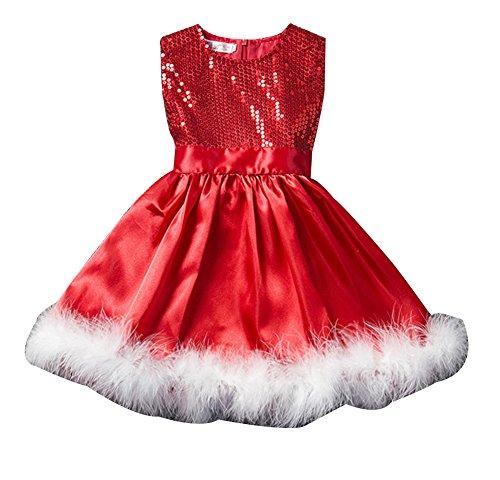 Mädchen ärmellos Weihnachtskleid Tutu Kleider Partykleid Festlich Kleid mit Pailletten Weihnachtskostüm 90cm Rot