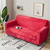DW&HX Surefit Sofa abdeckung Stretch 1-stück Sofa Überwurf Anti-rutsch Schmutzresistent Einfarbig Sofa throw Für 1 2 3 4 Sitzer Couch -Rose 3 Sitzer