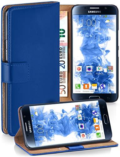 MoEx® Booklet mit Flip Funktion [360 Grad Voll-Schutz] für Samsung Galaxy S6 | Geldfach und Kartenfach + Stand-Funktion und Magnet-Verschluss, Dunkel-Blau