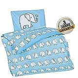 Aminata Kids Baby-Bettwäsche-Set Tiere Elefanten - 100-x-135-cm - Mädchen - Kinder-Bettwäsche Safari aus Baumwolle - hell-blau, weiß - Marken-Reißverschluss & Öko-Tex