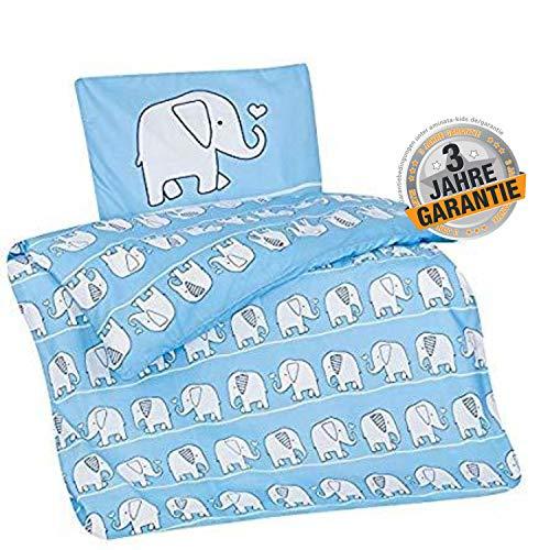 Aminata Kids Elefant Bettwäsche 100x135 cm + 40 x 60 cm aus Baumwolle mit Reißverschluss, unsere Kinderbettwäsche mit Elefanten-Motiv ist weich und kuschelig