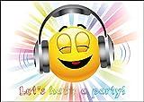 'LET´s HAVE a PARTY': 10-er-Set lustige Smiley- / Emoji-Einladungskarten (10701) zum Kindergeburtstag von EDITION COLIBRI © - umweltfreundlich, da klimaneutral gedruckt