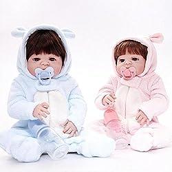SHTWAD Realista Gemelos Bebé Reborn Suave Silicona 21.6 Pulgadas 55cm Completo Silicona Azul Rosa MagnéTica Boca Lindo Chicos Chicas Regalo Juguetes