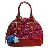 OULII Frauen Glitter Crossbody Taschen Schultertasche Handtasche PU Shell Form Tragetaschen (rot)