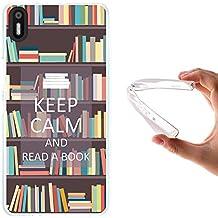 Funda Bq Aquaris X5, WoowCase [ Bq Aquaris X5 ] Funda Silicona Gel Flexible Keep Calm and Read a Book, Carcasa Case TPU Silicona - Transparente