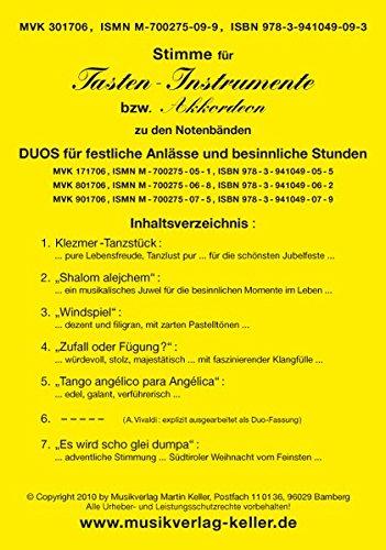 """Akkord-Stimme (MVK 301706) für Tasten-Instrumente /Akkordeon zu den 3 Notenbänden """"Duos für festliche Anlässe und besinnliche Stunden"""" (Violin-Duos: ... siehe: www-musikverlag-keller.de"""