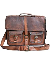 Vintage Handmade Genuine Brown Leather Laptop And Messenger Bag And Office Bag For Znt Bags - B0795TLLTS