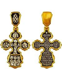 cc53feec99ec Croix Orthodoxe Russe Archanges, Saints, Mère de Dieu en argent et or 24