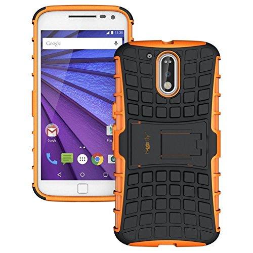 Heartly Rugged Shock Proof Tough Armor Back Case For Motorola Moto G Plus 4Th Gen / Moto G4 Plus / Moto G4 - Mobile Orange
