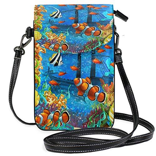 ZZKKO Tropical Beach Coral Reef Ocean Sea Mini Umhängetasche Handtasche Handtasche Leder für Frauen Casual Reisen Wandern Camping -