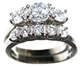 Ah! Jewellery 1.45ct Stainless Steel Beautiful Lab Created Diamond Ring & Band Set. 3 Stone Past Present Future Ring. 5.3gr. 8mm. Stamped 316. Never Tarnish. Lifetime Guarantee. Remarkable Quality.