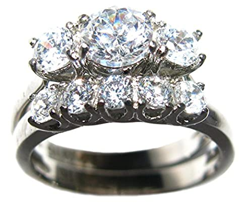 Ah! Jewellery 1.45ct Stainless Steel Beautiful Lab Created Diamond Ring & Band Set. 3 Stone Past Present Future Ring. 5.3gr. 8mm. Stamped 316. Never Tarnish. Lifetime Guarantee. Remarkable