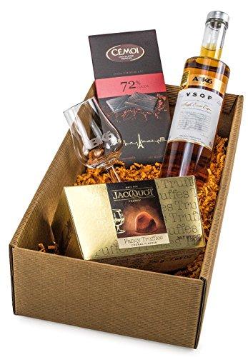 """Geschenkset """"Cognac-Genuss"""" mit Glas, Schokolade und AbK6 Cognac (1 x 0.35 l)"""
