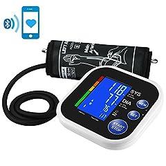 Idea Regalo - Mpow Bluetooth Automatico Misuratore Pressione, App Gratuita per Smartphone, Ampio Display LCD Retroilluminato, Operazione a Un Tasto, 60 Memoria, Confortevole Fascia da Braccio Superiore (22cm-32cm)