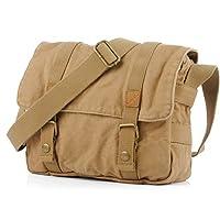 Koolertron Unisex Men Womens Canvas Leather Cross Body Retro Messenger Bag Traval Shoulder Bag DSLR Camera Bag School Bag Purse Fits 10 Inch Laptop(Size one, khaki)