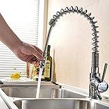 LIERAS-Rubinetto da cucina girevole & Spring, con doccetta estraibile, cromato lucido, con miscelatore acqua calda e fredda, per lavello, con 1 foro rubinetto miscelatore, soffione