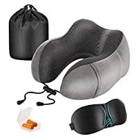 Newdora Travel Pillow, Memory Foam Neck Pillow Neck Cushion,Flight Pillow Travel Kit Compact and Breathable for Sleeping Napping Airplane Car Office with Sleeping Mask,Earplugs and Pouch(Dark Gray)