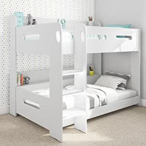 Sky Furniture White Kids Bunk Bed - Ladder Can Be Fitted Either Side! + Storage Shelves + FREE UK Delivery