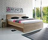 AVANTI TRENDSTORE - Melitta - Bett aus Eiche Sonoma Dekor, in verschiedenen Größen erhältlich (BHT ca. 147x81x207cm)